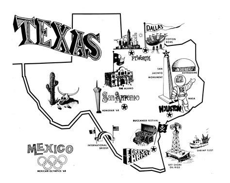 texas tourism map  portal  texas history