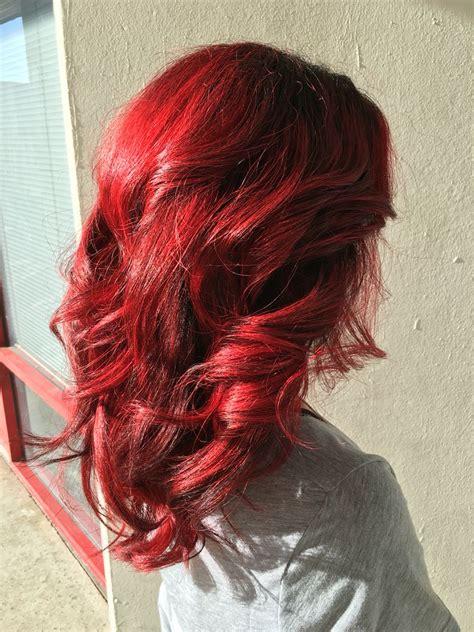 Red Hair Bright Red Hair Balayage Hair Cherry Red Hair