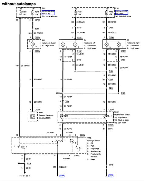 2001 Mercury Fuse Diagram Wiring Schematic by I A 2001 Ford Taurus And The High Beams Do Not Work