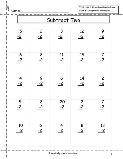 single digit subtraction fluency worksheets
