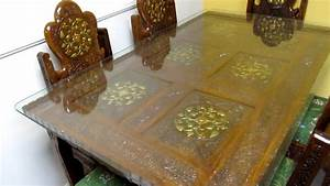 Dinning Table Teak wood hand carved Brass inlay Made in
