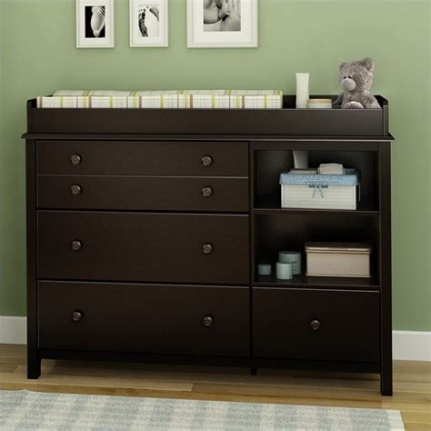 dark wood changing table south shore little smiley changing table in espresso 3759337