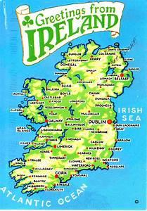 Map On Postcard  U2013 Ireland