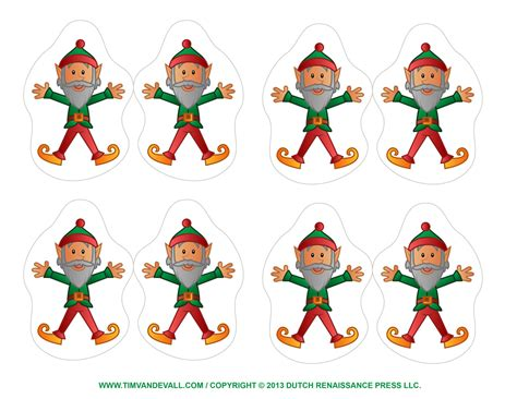 printable elf clipart coloring pages template