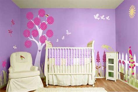 Baby Room Painting Ideas Purple Bloom Themes