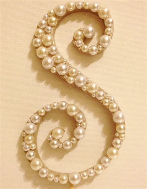 Curly Pearl Monogram Wedding Cake Topper Font 2 Wood