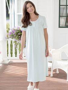Womens Night Bauhaus : cotton knit nightgown with lace and satin trim ~ Eleganceandgraceweddings.com Haus und Dekorationen
