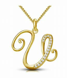 kataria jewellers letter u gold plated 925 sterling With letter pendant online