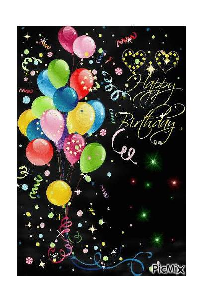 Birthday Happy Balloons Sparkling Quotes Flower Animated