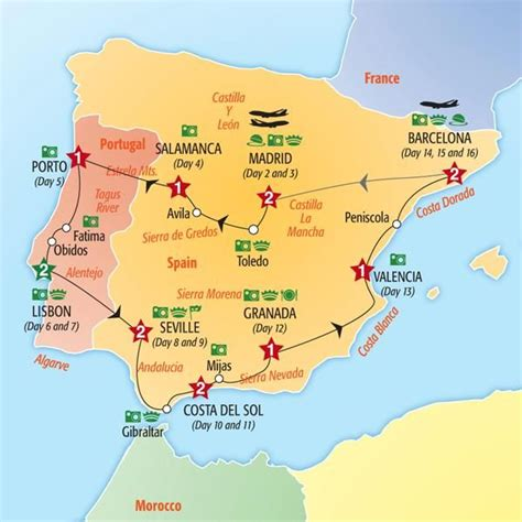 Carte Sud Espagne Portugal by Spain Portugal Insight Tours Itinerary Travel Maps