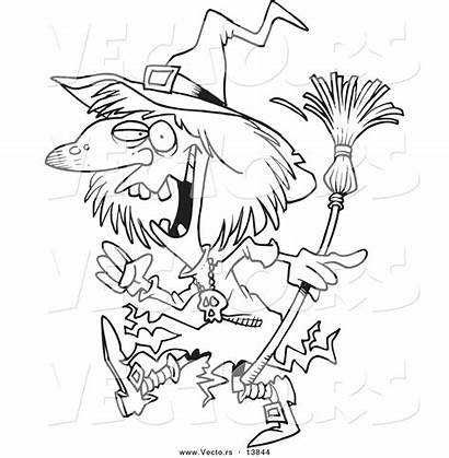 Witch Coloring Creepy Cartoon Outline Walking Toonaday