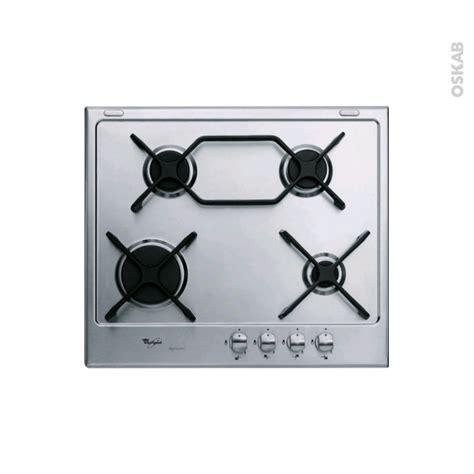 plaque de cuisine gaz plaque de cuisson 4 feux gaz 60 cm inox whirlpool