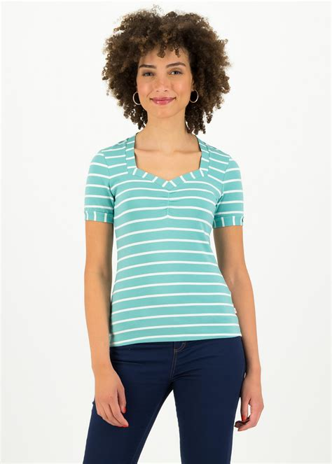 Blutsgeschwister Shirts | Womens Logo Stripe T-Shirt Turquoise — Cjsopenfarm