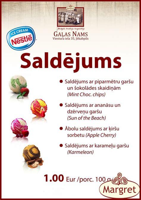 Kafejnīcā dažādu garšu saldējumi   Jēkabpils Gaļas Nams