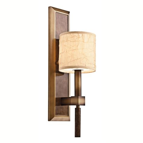 traditional bronze wall light fitting with taupe crinkle shade