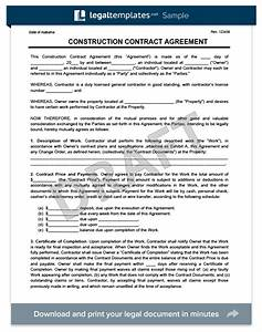 Create a free construction contract agreement legal for Contracting contract template
