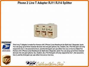 2 Line T Adapter Rj11 Rj14 Splitter Ivory