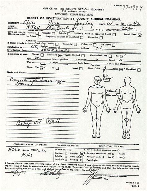 medical examiners report   death  elvis