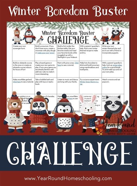 Winter Boredom Buster Challenge Year Round Homeschooling