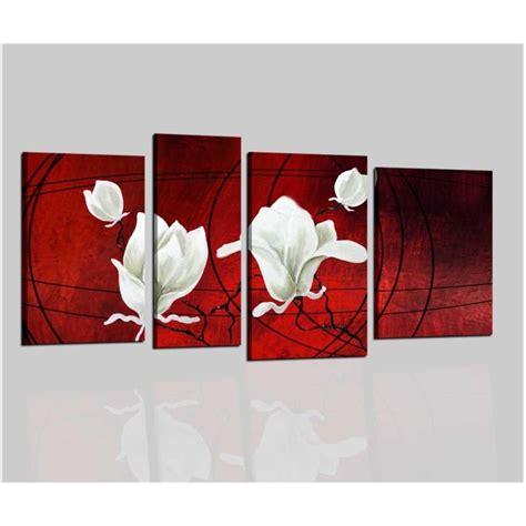 quadri con i fiori quadro componibile con tonalit 224 sul rosso con