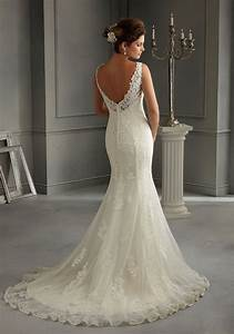 morilee bridal patterned embroidery design on net over With slip style wedding dress