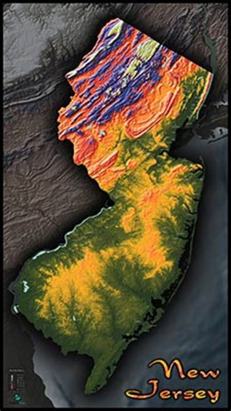jersey topography map colorized terrain  elevation