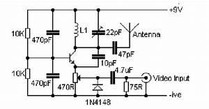 Vhf Video Transmitter 60-200 Mhz - Signal Processing - Circuit Diagram