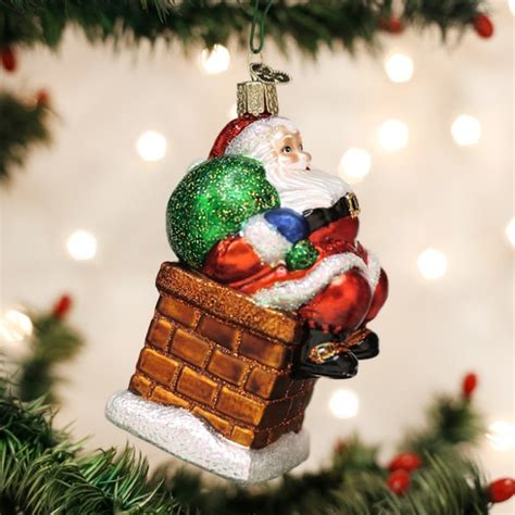 chimney stop santa glass ornament   world christmas
