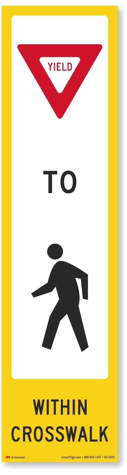 Yield Pedestrian Crosswalk Decal Signs K2