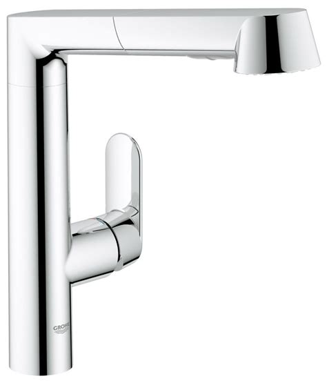 grohe k7 kitchen faucet grohe 32178000 starlight chrome k7 pull out kitchen faucet with 2 function locking sprayer