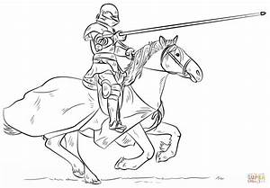 Knight on Horse coloring page | Free Printable Coloring Pages