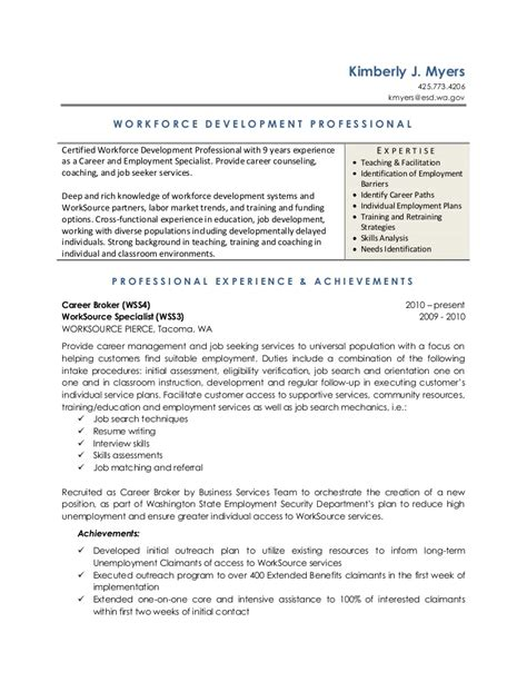 A Resume by Workforce Development Resume