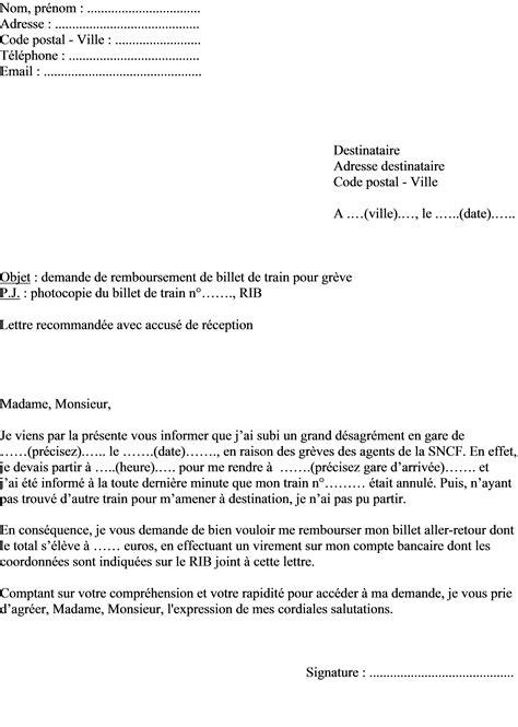 Changement Billet Greve Sncf by Mod 232 Le De Lettre Demande Remboursement Billet Gr 232 Ve