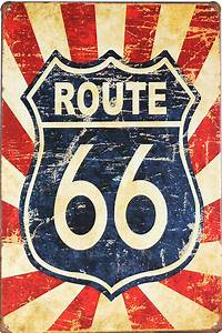European retro style 0 route route 66 sign board metal for What kind of paint to use on kitchen cabinets for route 66 wall art