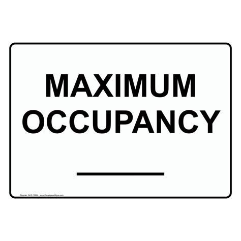 Printable Bathroom Occupied Signs by Custom Maximum Occupancy Sign Nhe 15664 Industrial Notices