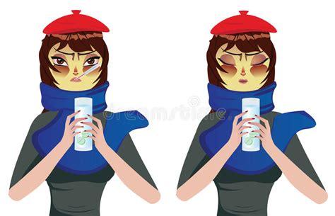 Woman Having A Cold Stock Vector