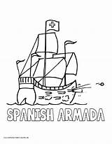 Armada Coloring Spanish Pages Spain History English Volume Galleon Popular sketch template