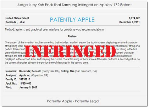 judge koh samsung devices infringe on apple patent patently apple