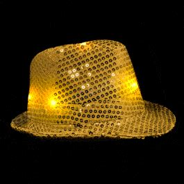 led flashing fedora hat  gold sequins magic matts