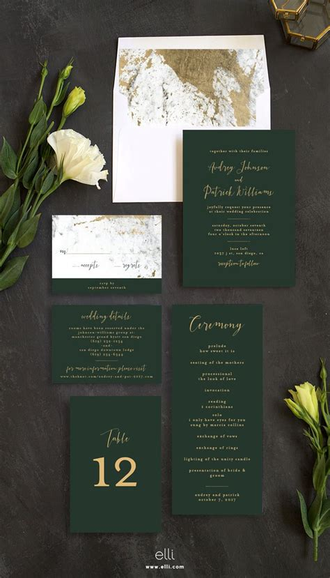 Marble and Gold Wedding Invitations Forest wedding
