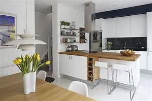 Revetement Plan De Travail Cuisine : cuisine blanche plan de travail bois inspirations de d co ~ Melissatoandfro.com Idées de Décoration