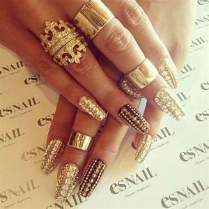 nail art gold rings long nails gold nails fabulousandglamour •