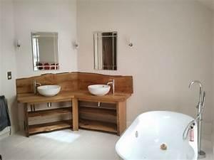 meuble double vasque de design moderne en 60 exemples With meuble salle de bain bois brut