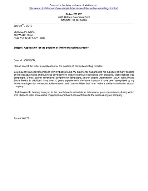 Cover Letter Exles For Application by Cover Letters Cover Letter For Application Business