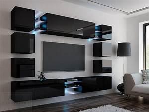 Moderne Küche Hochglanz Schwarz : kaufexpert wohnwand edge schwarz hochglanz mediawand medienwand design modern led beleuchtung ~ Indierocktalk.com Haus und Dekorationen