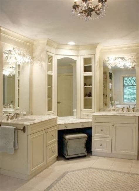 White Vanity Makeup Station by All White Bathroom With His And Hers Sink And Makeup