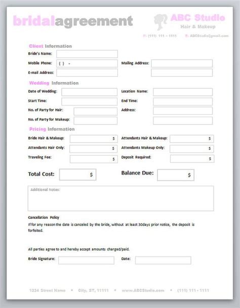 Freelance Marketing Contract Template by Freelance Hair Stylist Makeup Artist Bridal Agreement