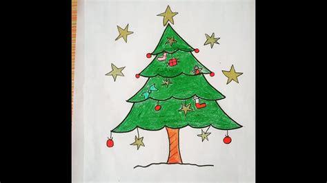 draw christmas tree  easy drawing  beginners