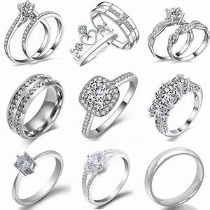 fashion women white gold plated crystal rhinestone With fashionable wedding rings