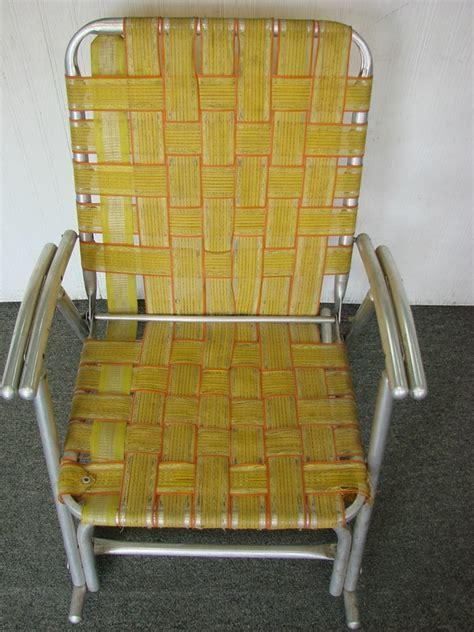 Webbed Lawn Chair Rocker by Vintage Folding Aluminum Webbed Rocking Lawn Chair W